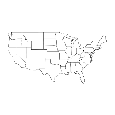 Map Maps Package R Function Of The Day - Us state map png